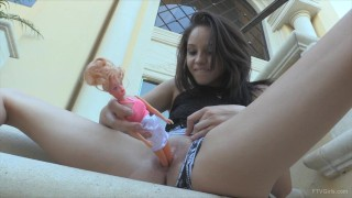 Giantess insert barbie doll in pussy outdoor